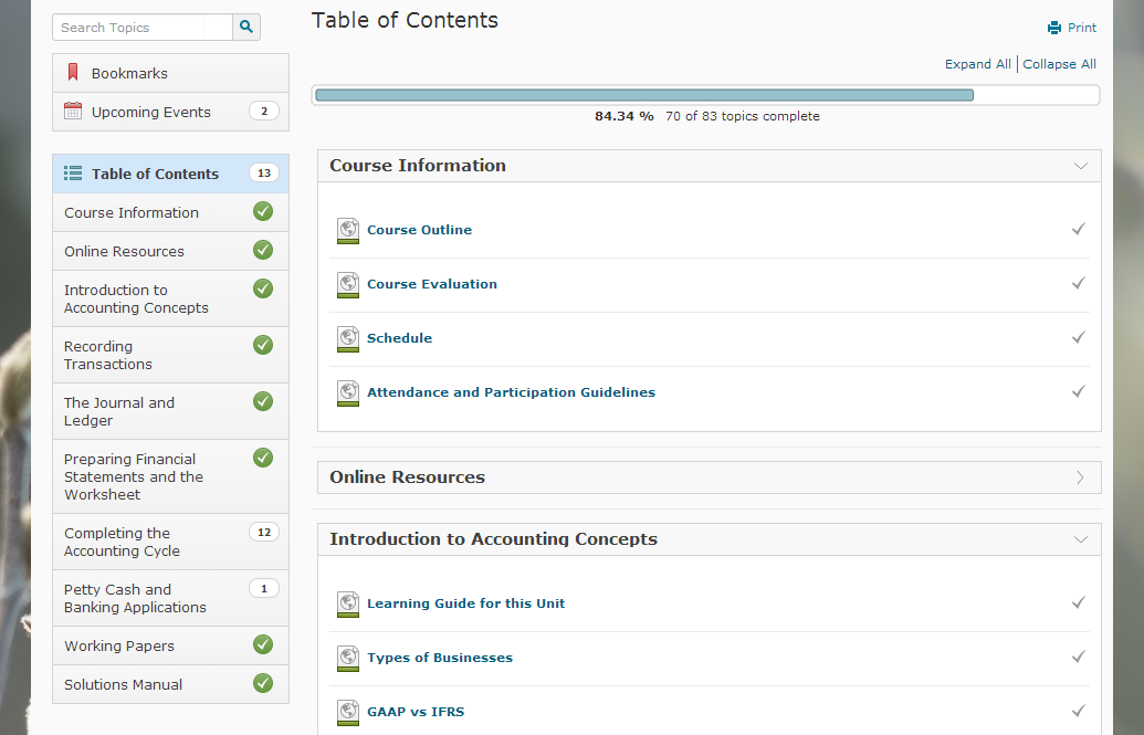 Desire2Learn Course Content Table of Content)